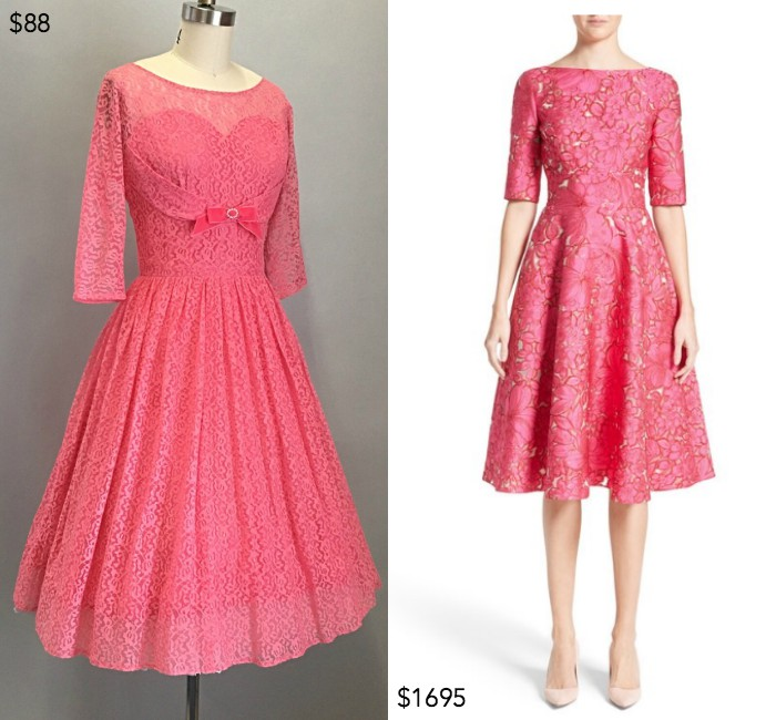 1950s lace fit & flare dress from HitherAndYonVintage;  Floral fil coupé fit & flare dress by Lela Rose