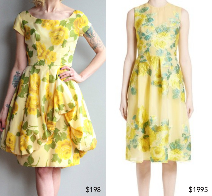 50s yellow rose bubble hem party dress from dethrosevintage ;  Floral fil coupé yellow rose dress by Lela Rose