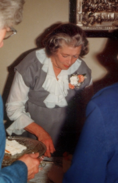 Serving food at a friend's wedding in 1981