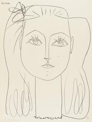 Pablo Picasso. Françoise with a Bow in Her Hair (Françoise au Noeud dans les Cheveux). June 14, 1946