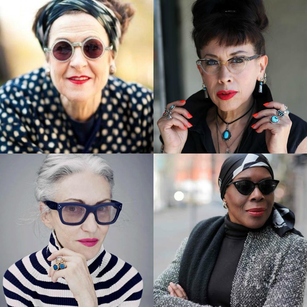 Tziporah Salamon via Refinery 29 ;  Pearl E. Gates via Advanced Style ,  Linda Robin via The Coveteur ;  Richelle Jones via Advanced Style