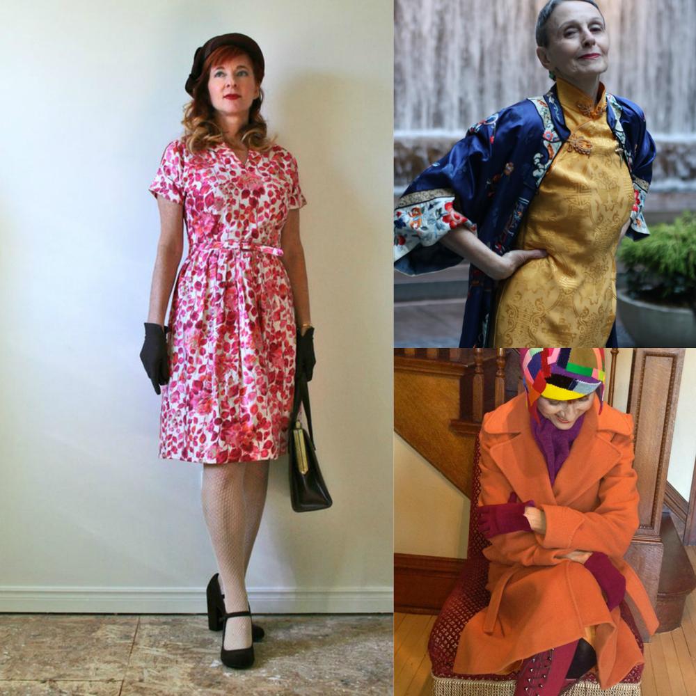 Suzanne Carillo blog ;  Carola Boxer Vecchio via Advanced Style ;  The Style Crone via Advanced Style