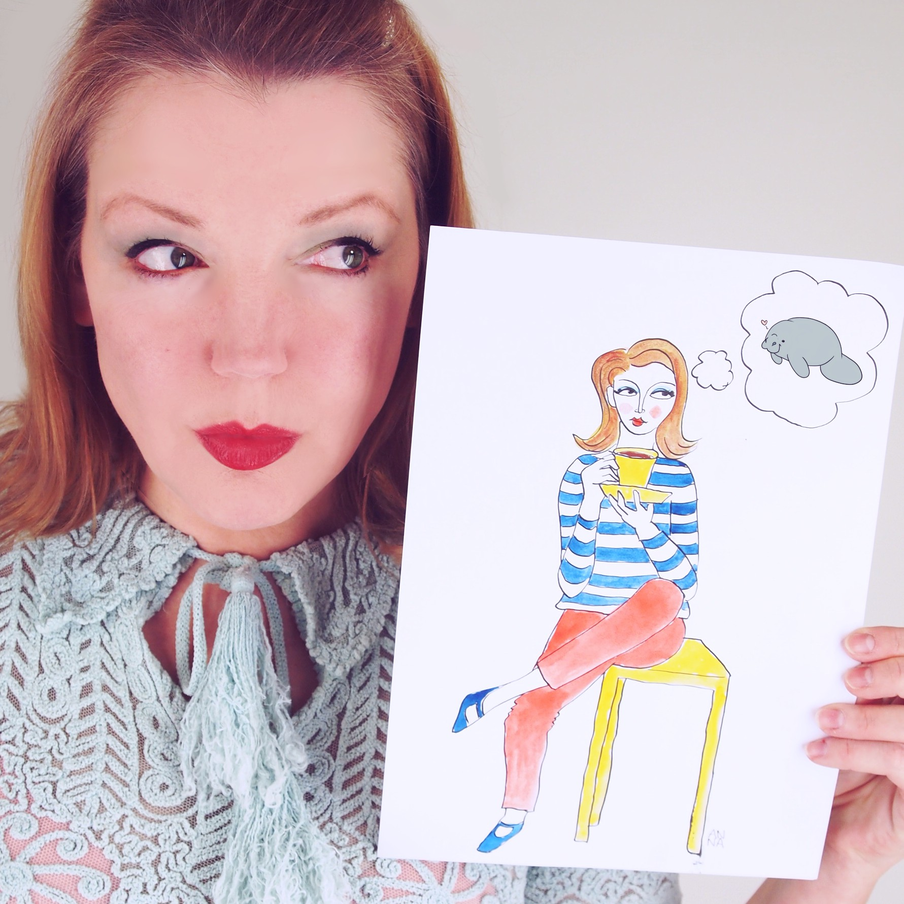 Manatee on my mind. Illustration of me by  Anna Davies .