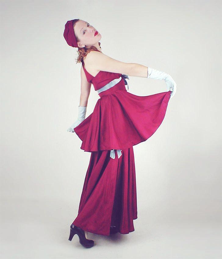 30s Peggy Hunt Jean Carol Label Burgundy Taffeta Long Dress