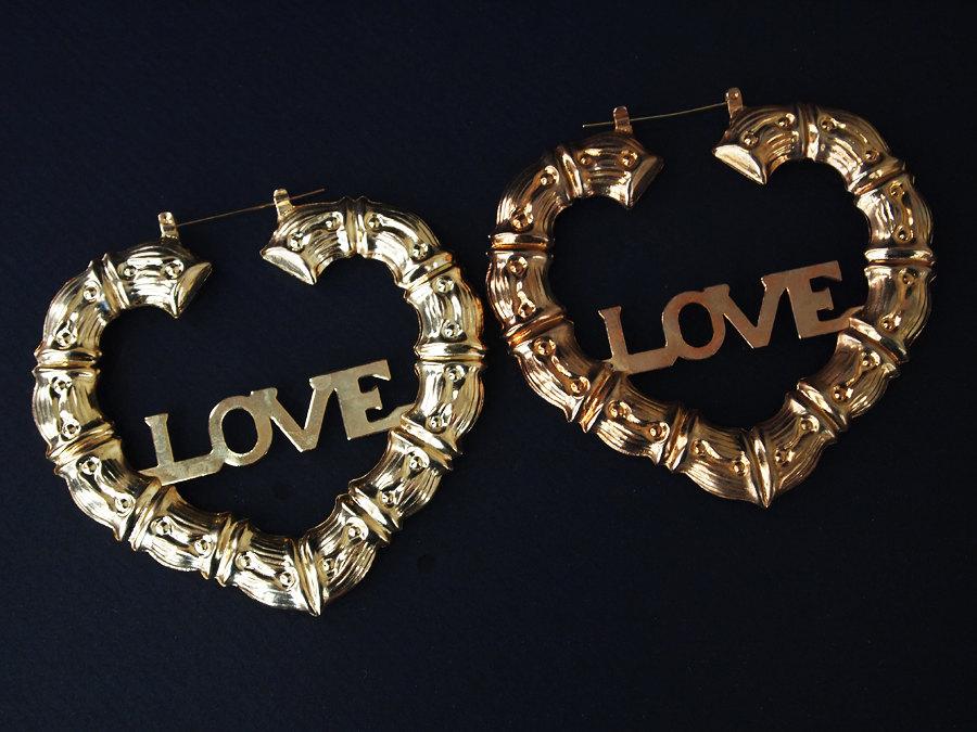 """Vintage Huge Golden Bamboo Heart """"Love"""" Pierced Earrings"""