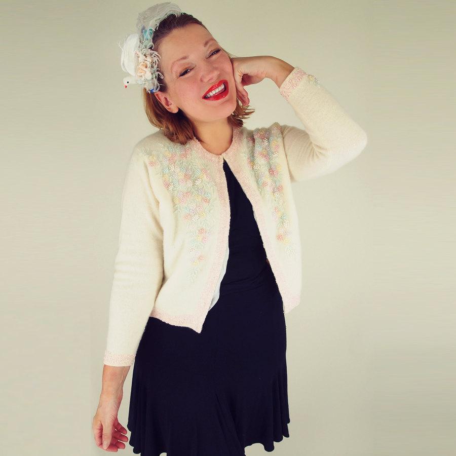 60s Pastel Beaded Cream Lambswool Angora Blend Cardigan Sweater