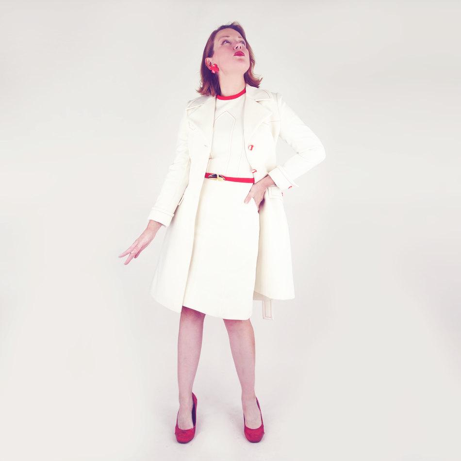 60s Cream & Orange Lilli Ann Knit Dress + Coat