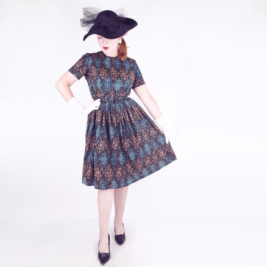50s Baroque Blue Brown Print Full Skirt