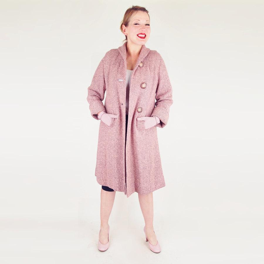 50s Pink and Grey Wool Tweed Flaring Coat