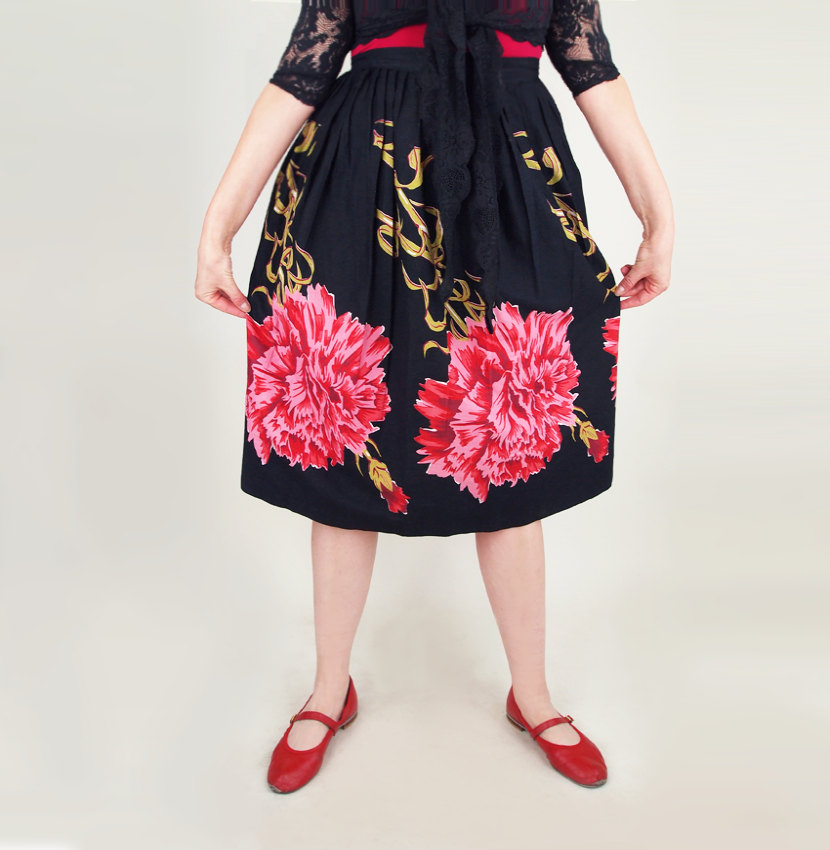 50s Gorgeous Pink Carnation Print Black Cotton Full Skirt