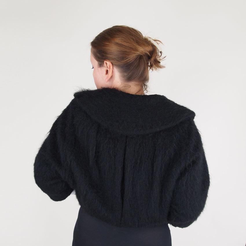 50s Chic Black Mohair Fleece Jacket - I. Magnin