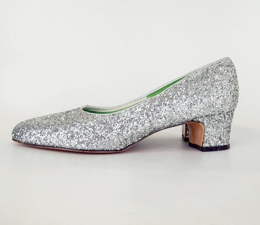 60s Mod Silver Glitter Pumps Mr. Dan