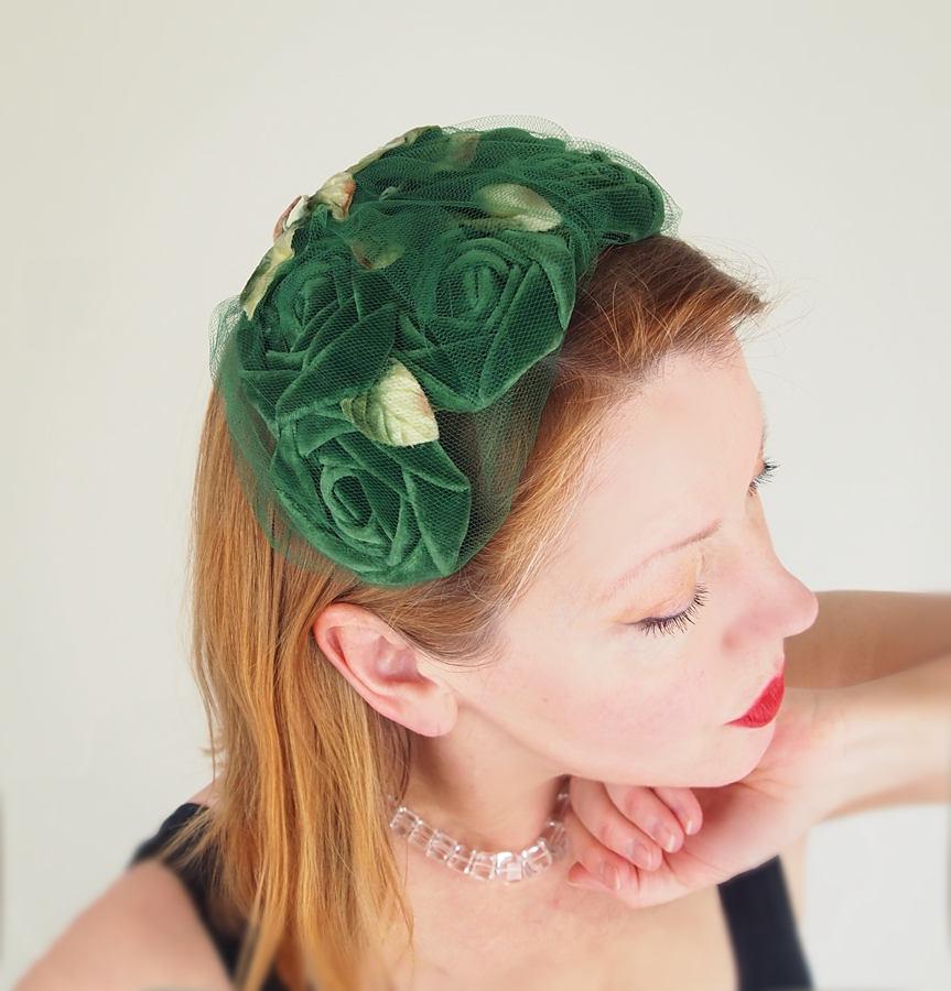 50s Green Velvet Roses Half Hat