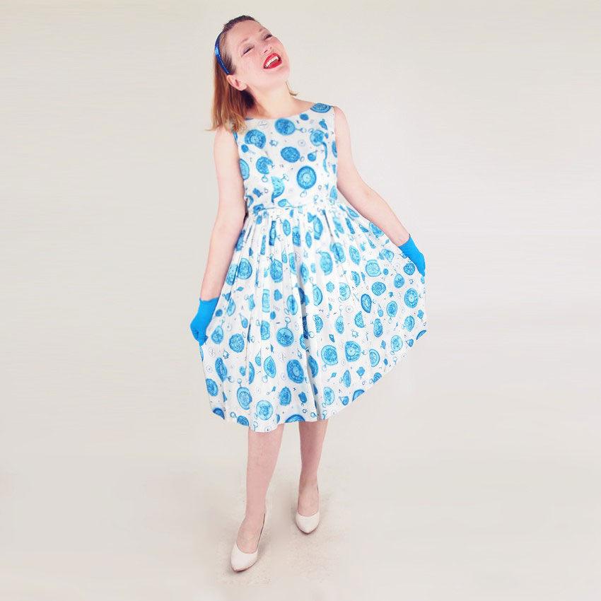 50s Blue and White Novelty Pocket Watch Print Full Skirt Dress