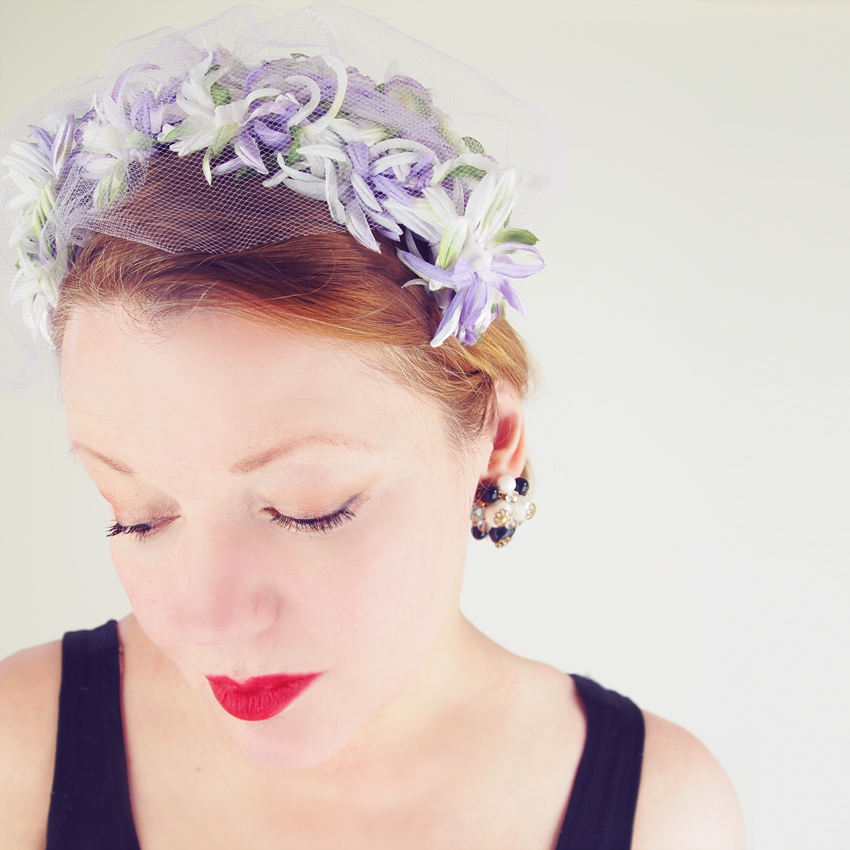 50s Lavender White Green Flowers Headband Hat