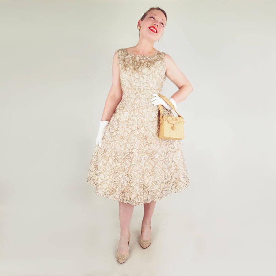50s Gold Metallic Cord Embroidered Ecru Lace Dress by Benham Original