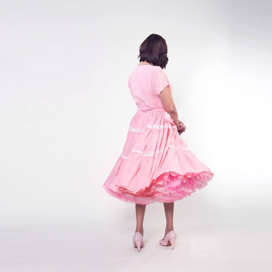 60s Pink Square Dance Full Skirt Dress