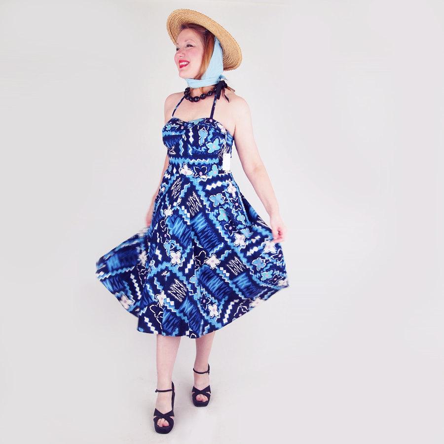 50s Blue Hawaiian Print Cotton Full Skirt Sundress
