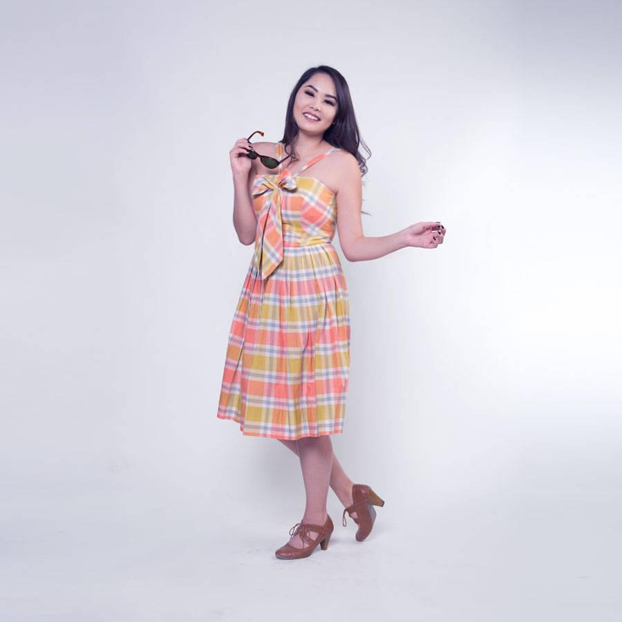 50s Coral Cotton Plaid Full Skirt Sundress by Tabak