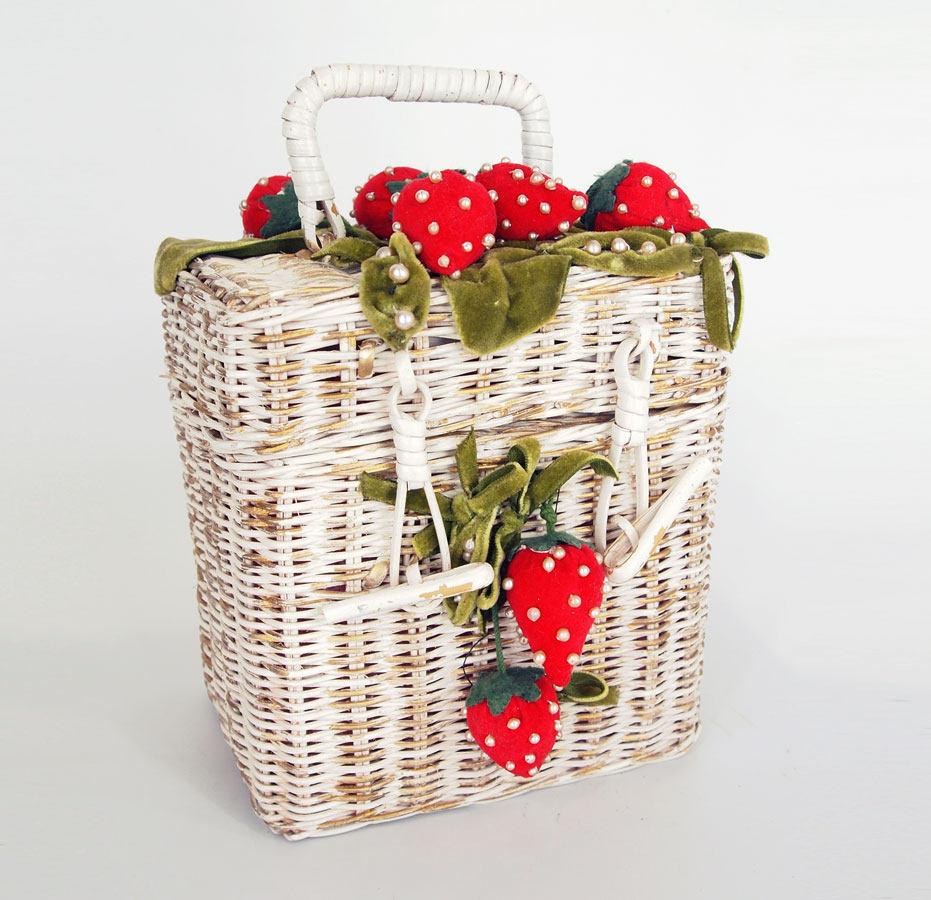 50s Velvet Strawberries on White and Gold Wicker Box Bag