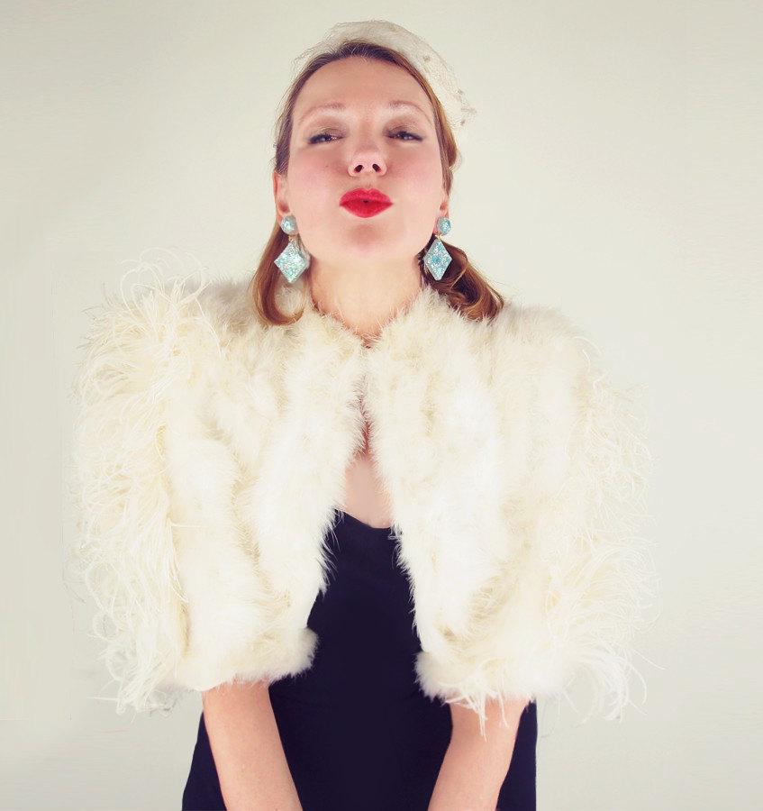 40s White Feather Bolero Evening Jacket - Old Hollywood