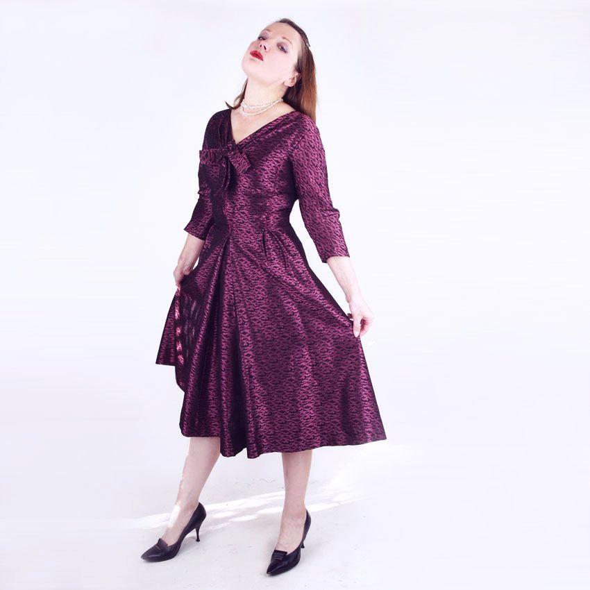 50s Purple and Black Brocade Full Skirt Dress