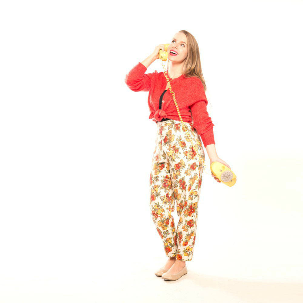 50s Fruit Print Linen High Waist Peg Leg Trousers