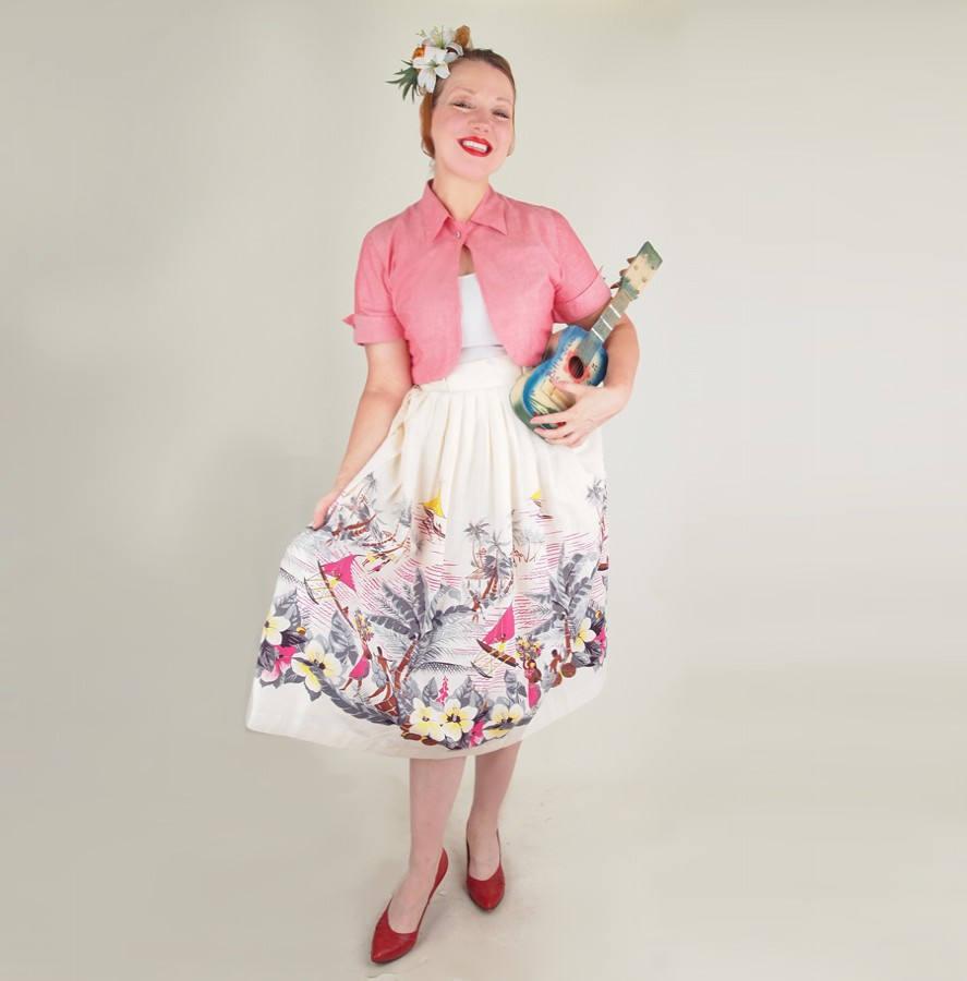 50s Hawaiian Scene Novelty Print Full Skirt