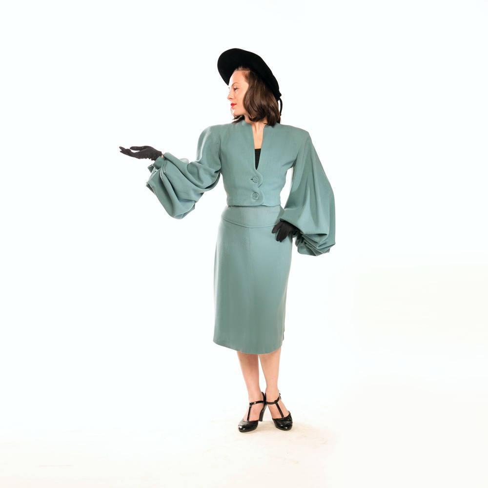 1946 Lilli Ann Parachute Sleeve Jacket Skirt Suit - Blue Wool Crepe