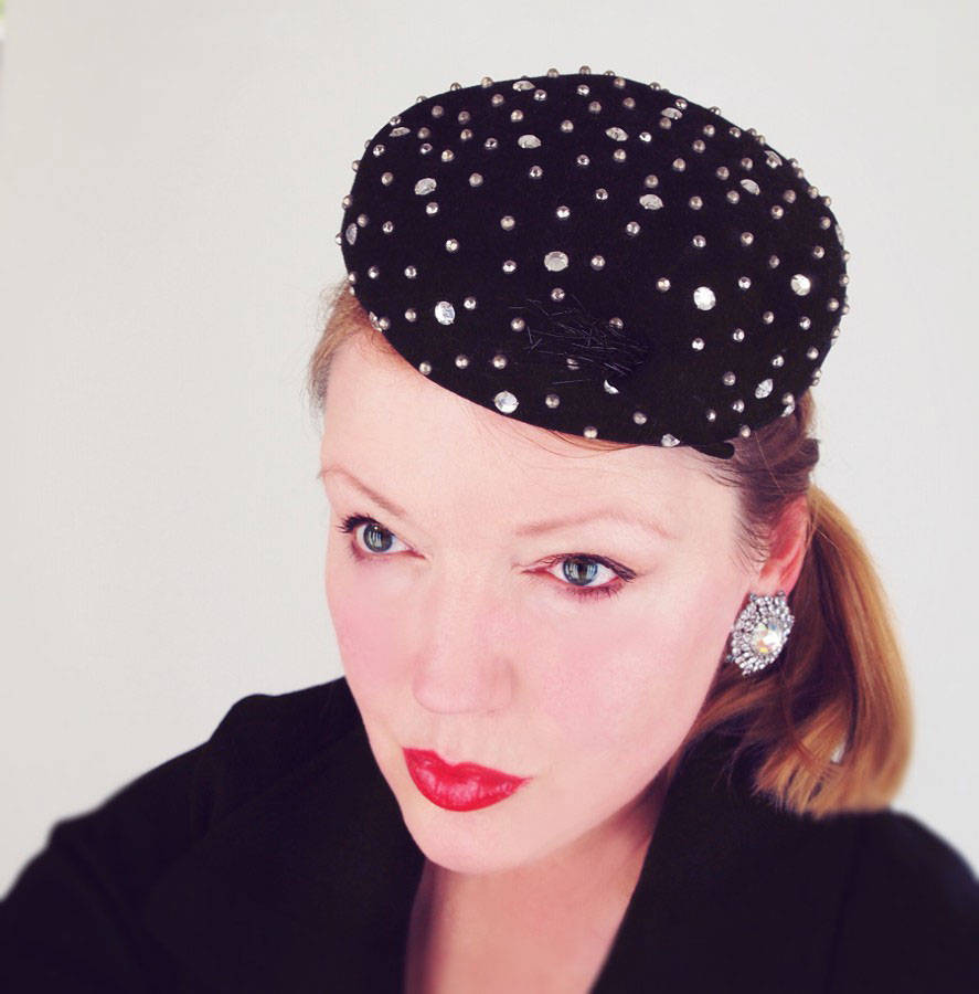 Vintage Black Felt Hat with Rhinestones and Metal Studs by Adolfo II