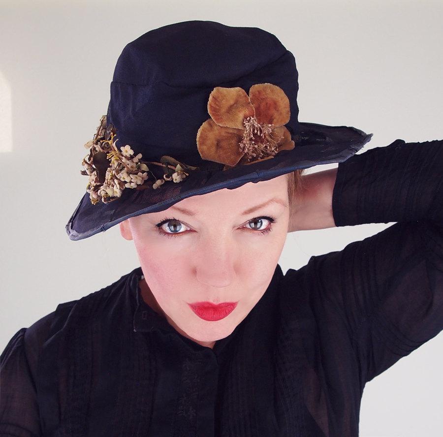 Edwardian Navy Silk Chiffon and Flowers Hat