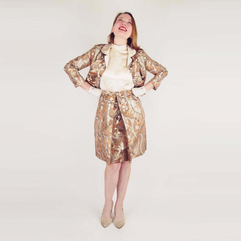 60s Lisa Meril Gold Silk & Lamé Brocade Dress + Jacket