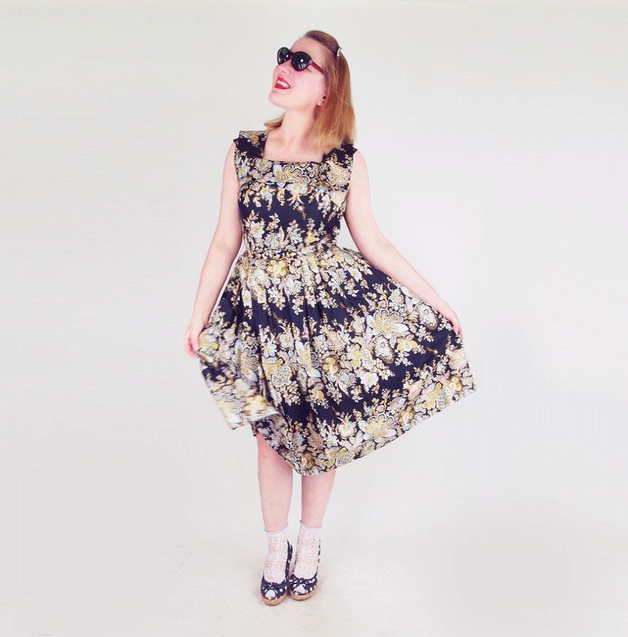 50s Black Paisley Print Cotton Sateen Sundress with Belt - Wildman Original