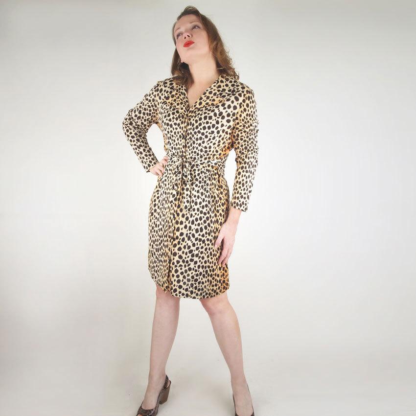 60s Cheetah Print Nylon House Dress with Tie Belt
