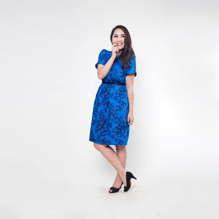 60s Hawaiian Blue Hibiscus Print Cotton A-line Muumuu Dress