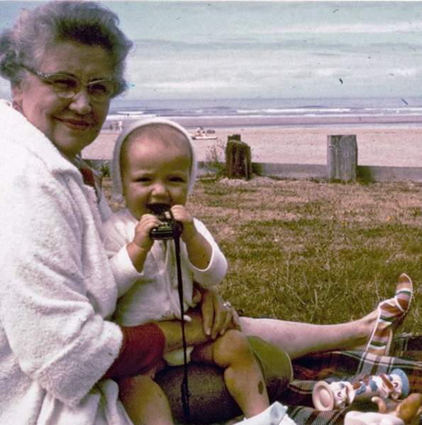 My aunt Marie with me at the tender age of one—I think I was eating her light meter. Look at Marie's striped cotton beach shoes!