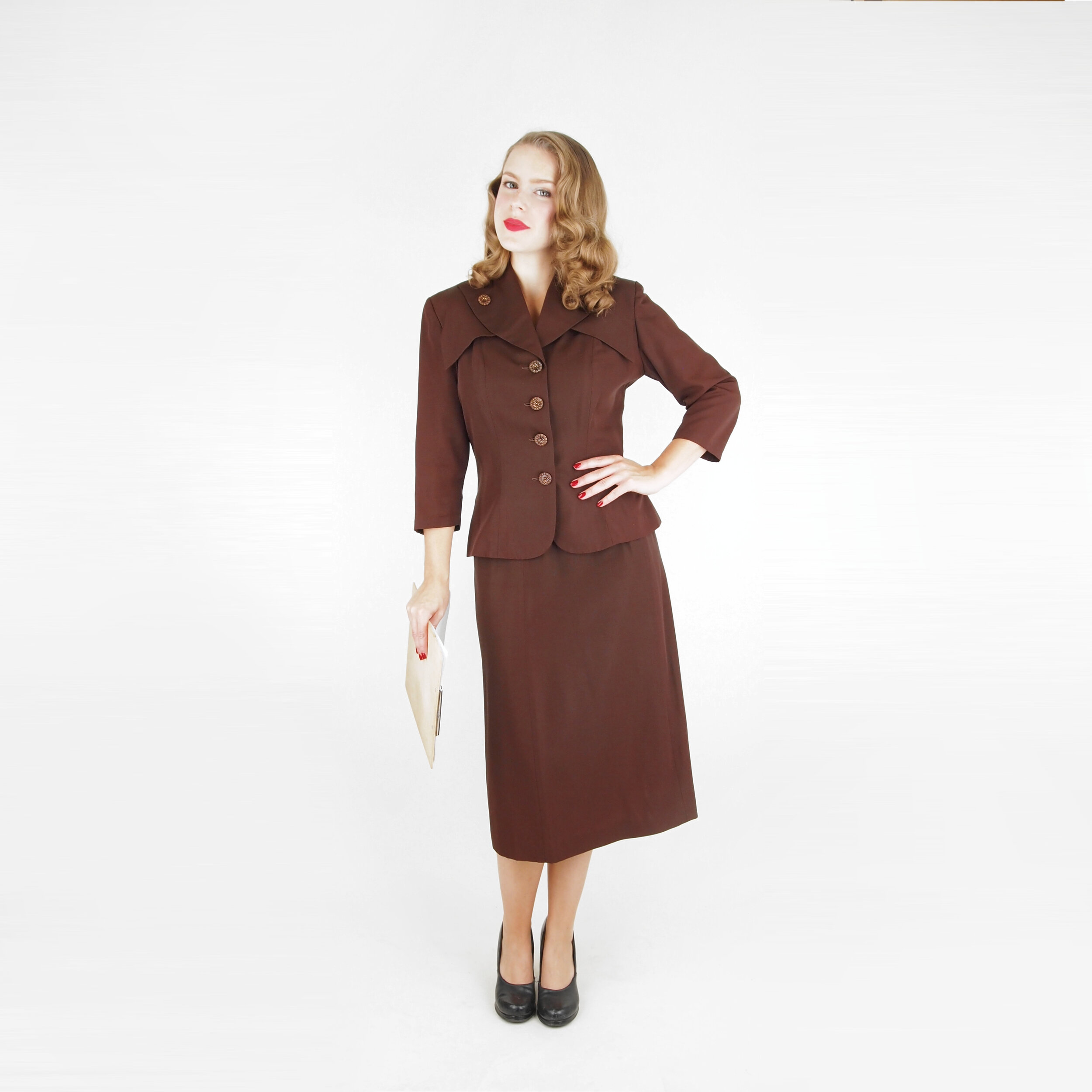 40s Brown Rayon Faille Skirt Suit by Sergee of California S