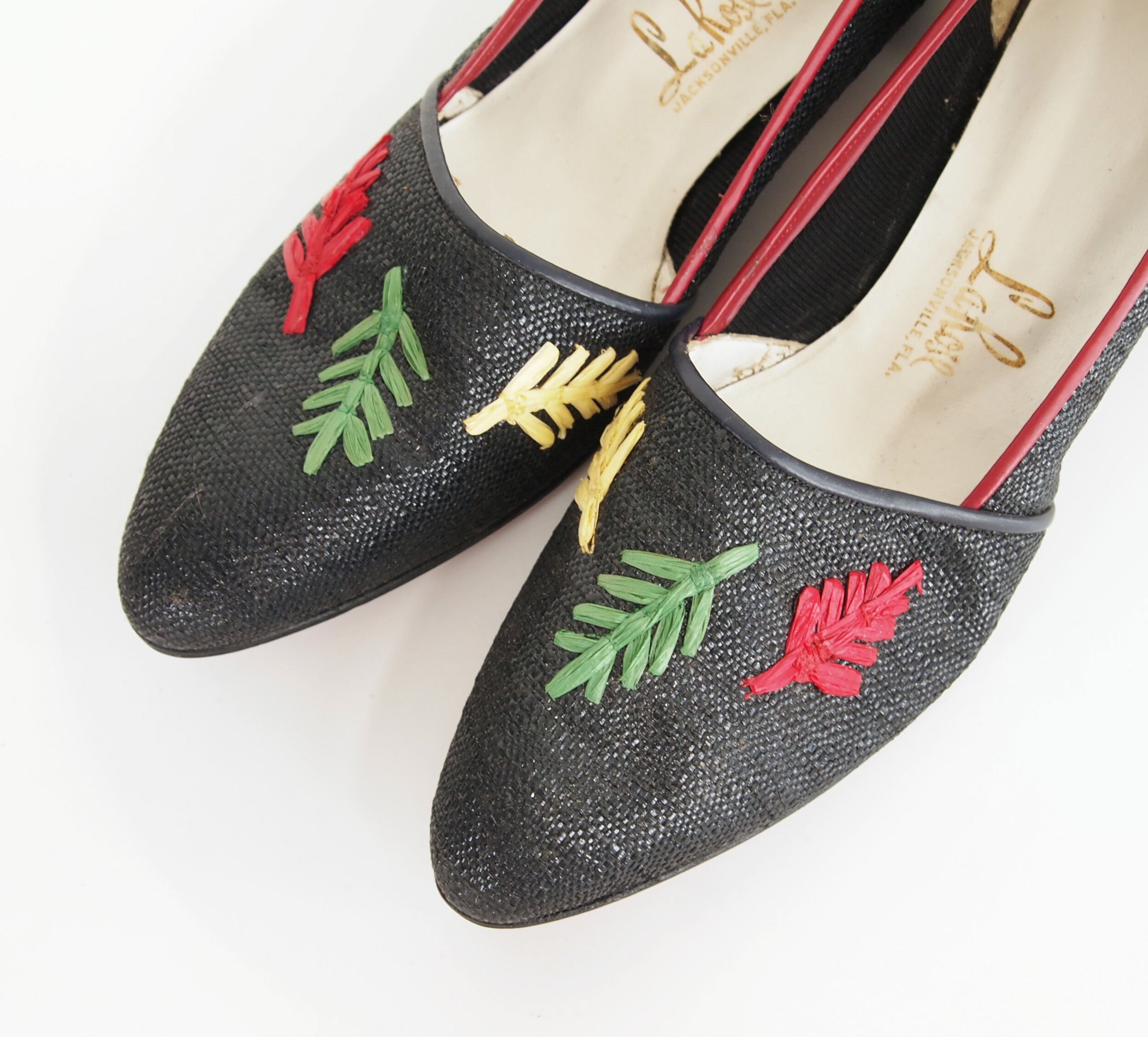 60s Red, Yellow, and Green Leaf Raffia Embroidered Black Low Heel Shoes by LaRose 10N