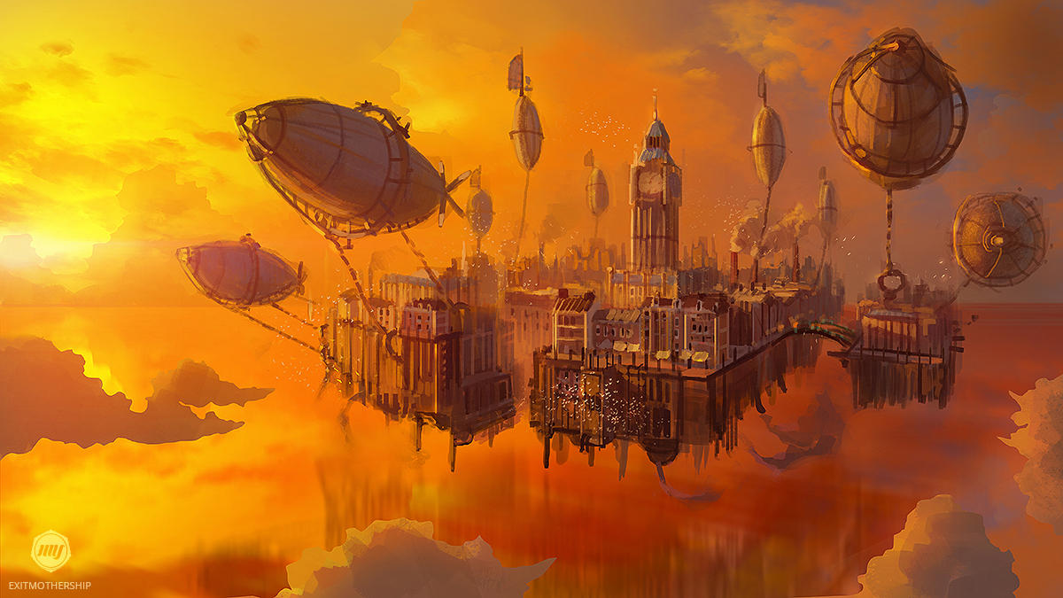 Artwork by  ExitMothership on Deviantart .  [Image description for screen readers: A floating city with a large clock tower, possibly Victorian London, is pulled through the air by several blimps while the sun hangs low on the horizon, coloring the sky orange and red.]