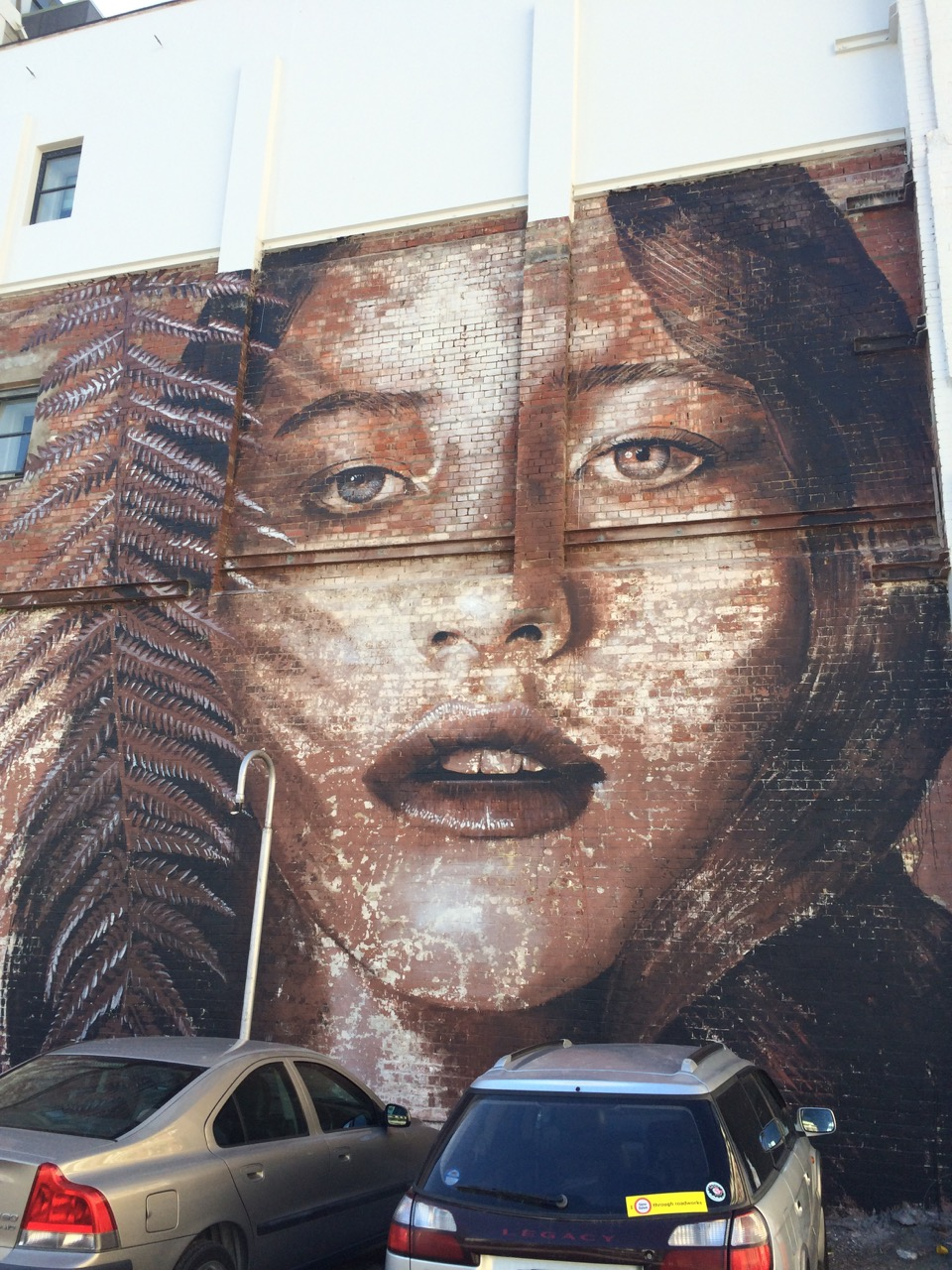 Street Artist Rone brings life to this city wall with his painting of Teresa, an Australian model with Maori heritage.