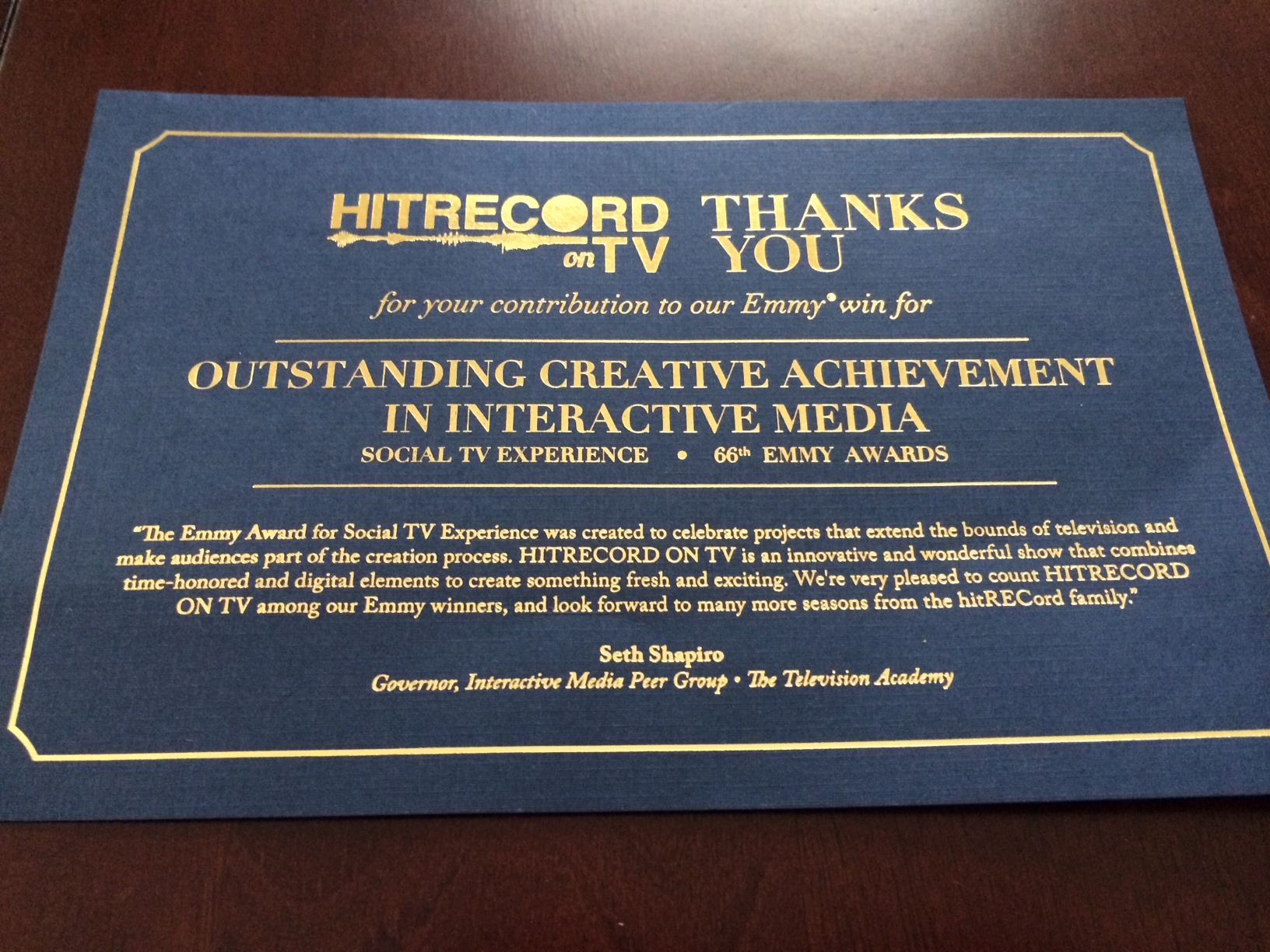 Recognition for TV contribution
