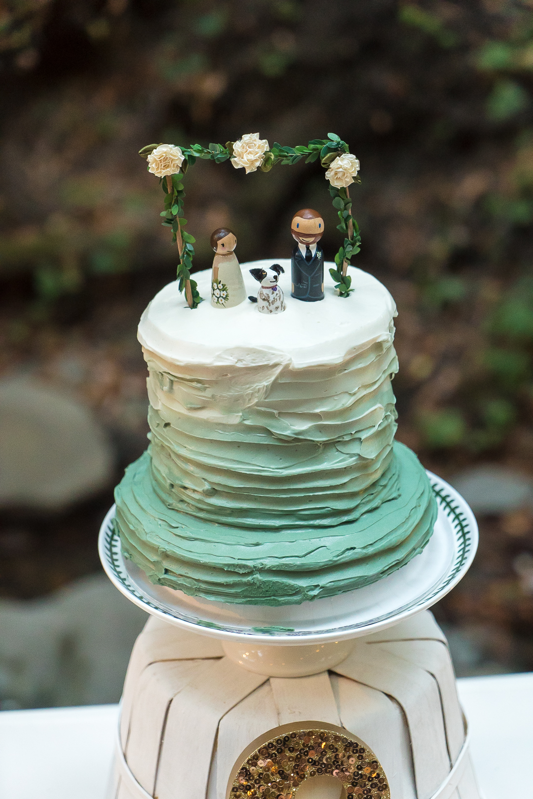 The bride and groom loved their wedding cake,