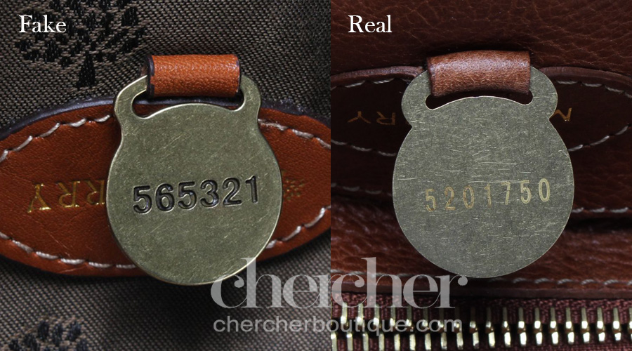 I have never seen a Mulberry bag with an engraved serial number.