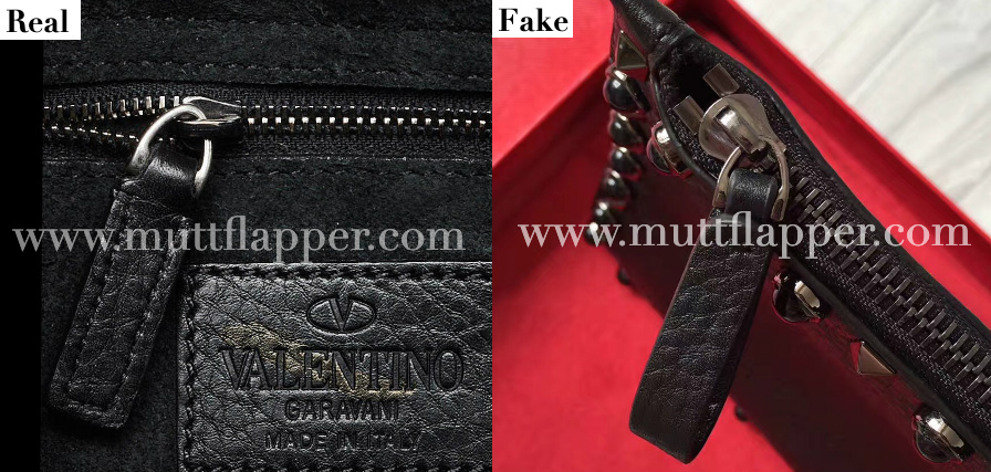 The zipper pull rings of the fake and real ones look a lot alike.