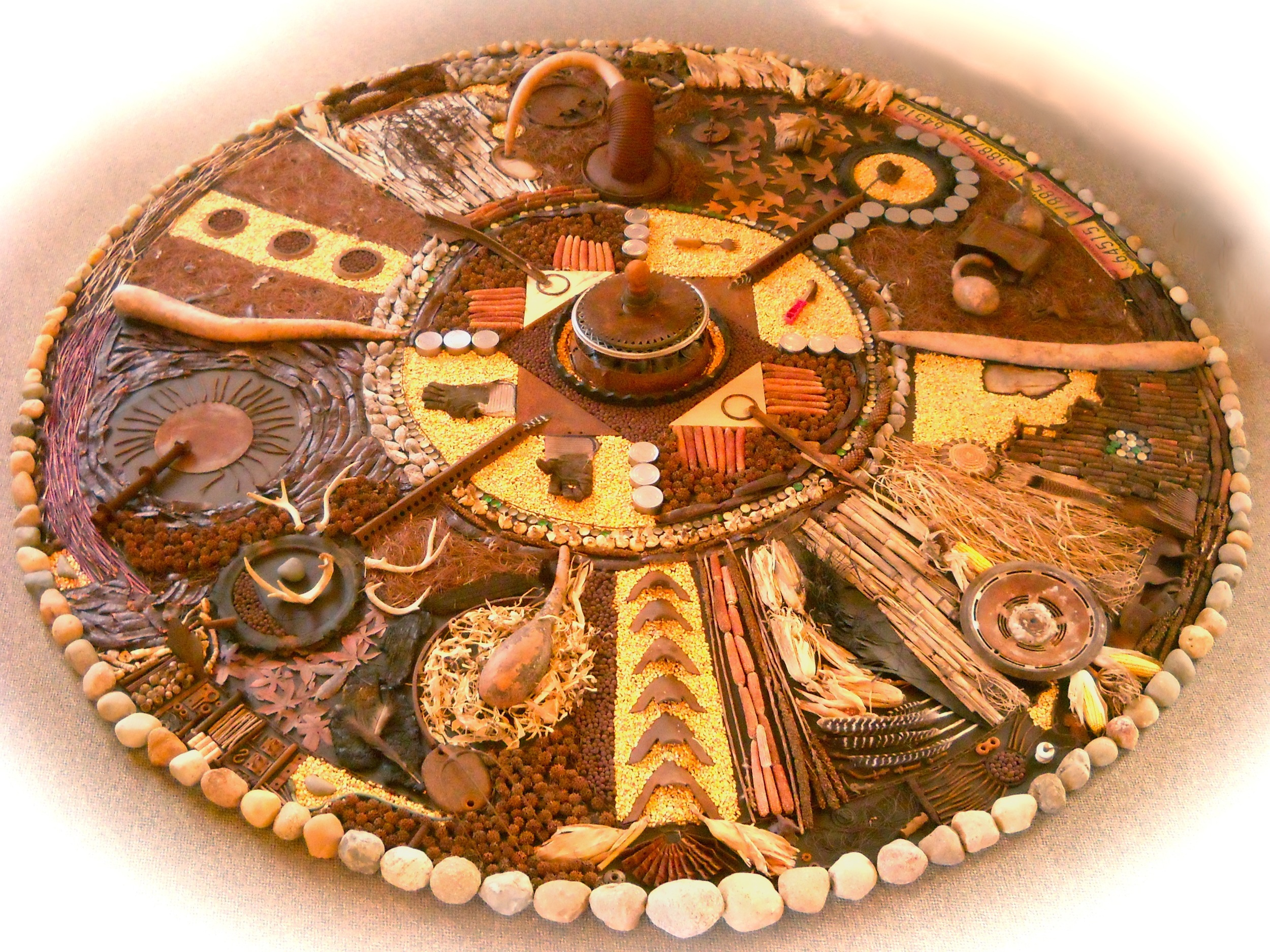 """In Harmony with Nature"" mandala created from natural and found materials at Prairie Arts Council's Lilian Fendig Gallery, Rensselaer, IN."