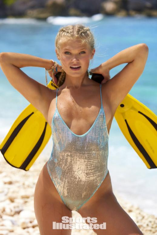 Aqua and gold thong swimsuit