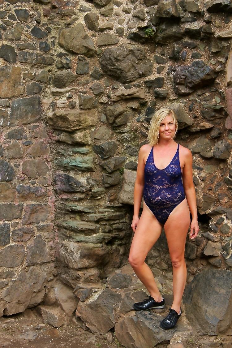 Navy Blue Lace Swimsuit
