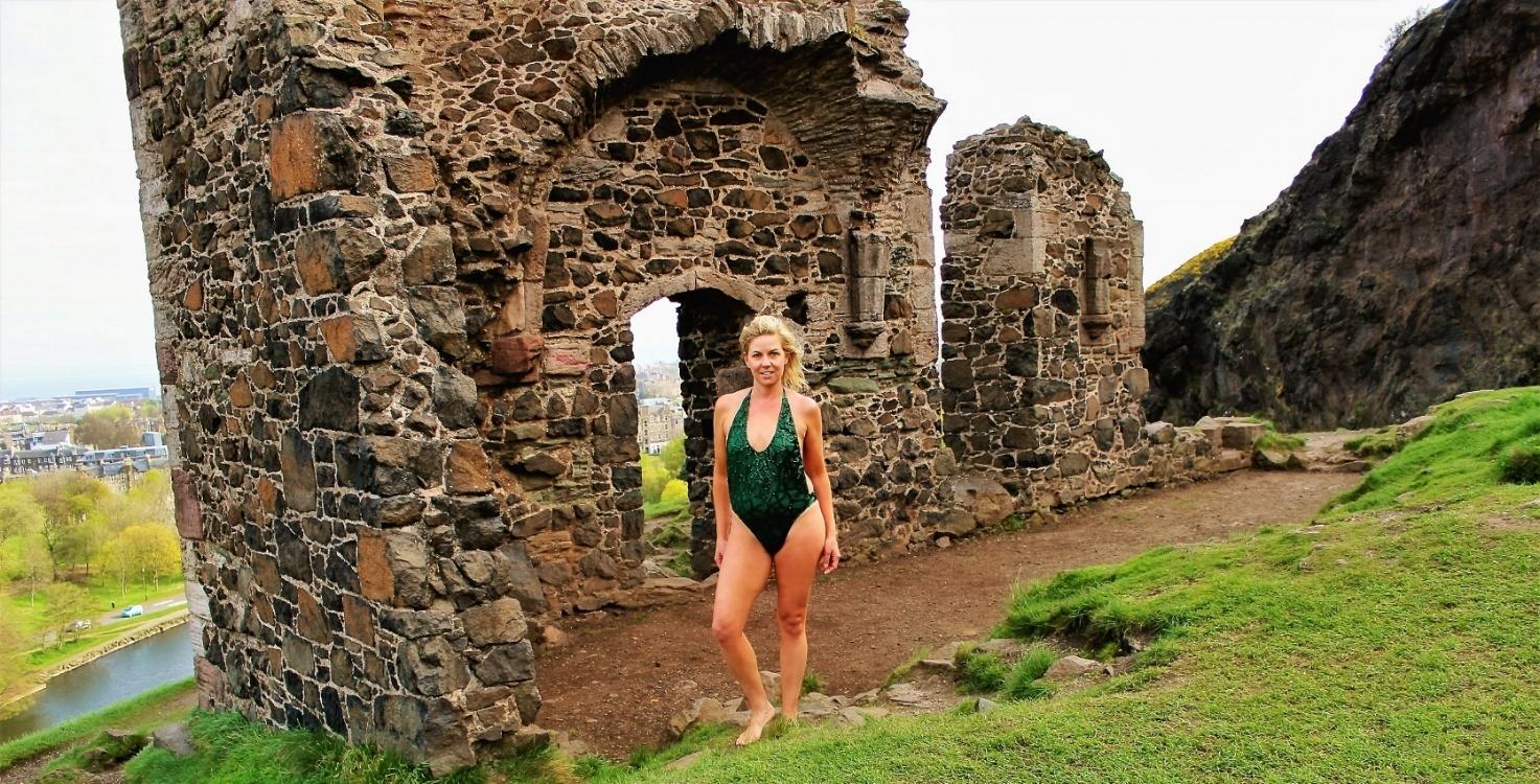 Emerald Green Sequin Swimsuit