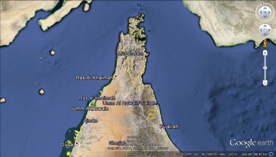 Location map for Musandam.