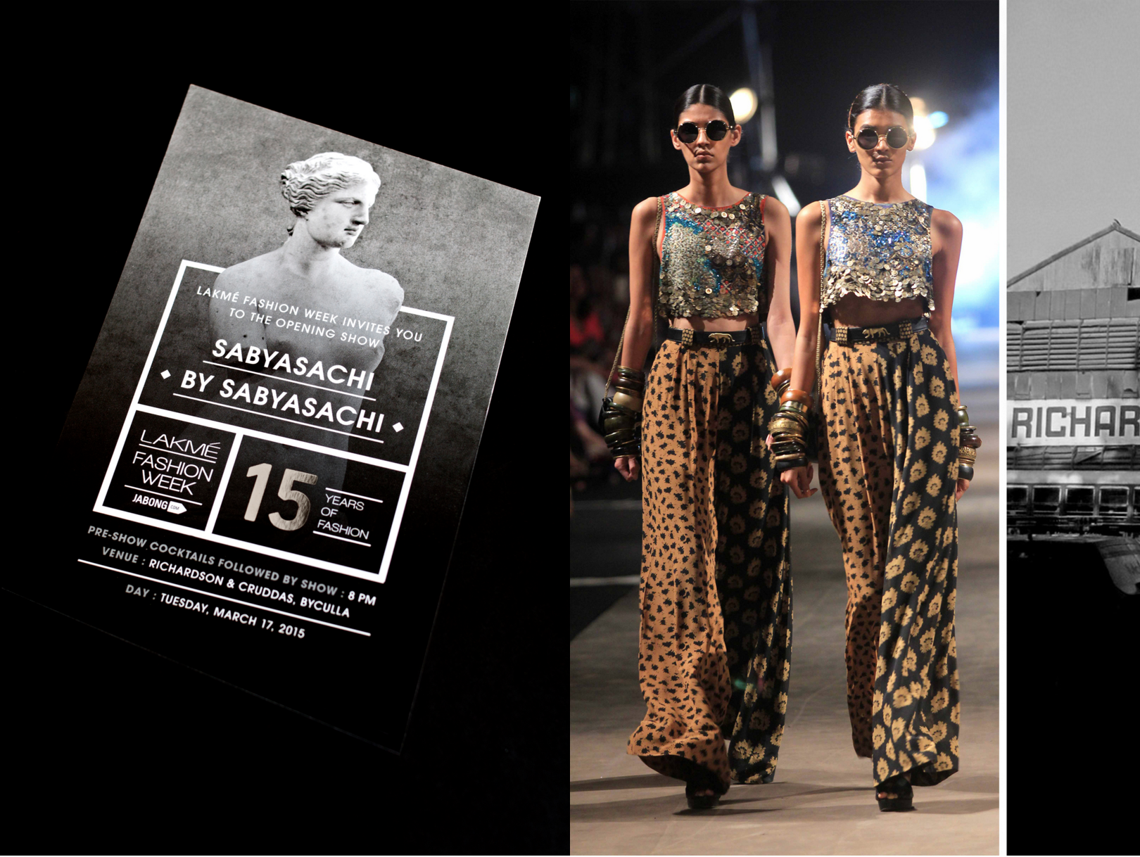 The event started with the Opening Show with designer Sabyasachi Mukherjee at Richardson & Cruddas, which is an abandoned warehouse in the industrial part of Mumbai.The invite was made specific to the designer's brief for his clothing line and in tandem with the location of the event.